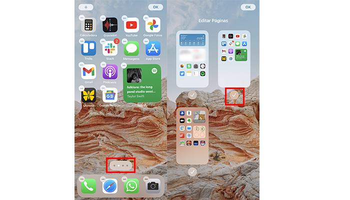 Processo para ocultar páginas de apps no iPhone (Imagem: Reprodução/iOS 14)