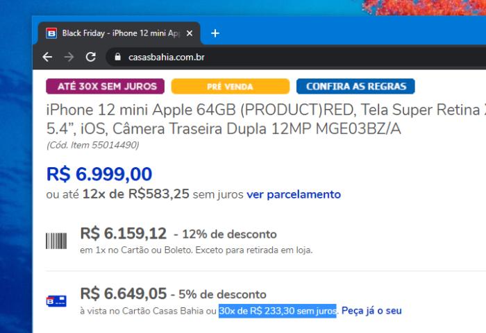 iPhone 12 em 30 vezes sem juros no cartão da loja (Imagem: Reprodução/Casas Bahia)