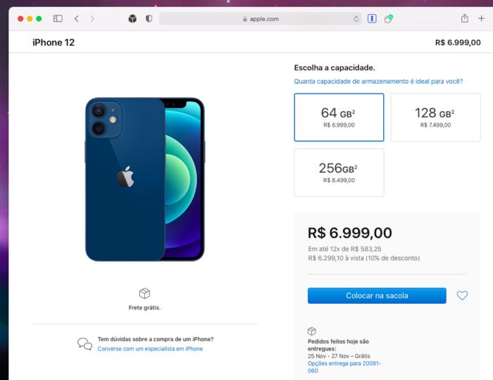Pré-venda do iPhone 12 no Brasil (Imagem: Reprodução/Tecnoblog)