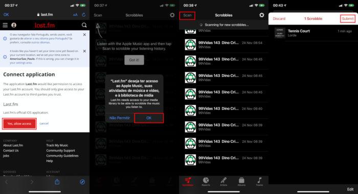 Tela de rastreamento do Last.fm no iOS (Imagem: Reprodução/Last.fm) / last.fm apple music