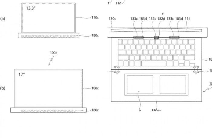 Tela enrolável aparece em patente de notebook da LG (Imagem: reprodução/Gadgetsdata)
