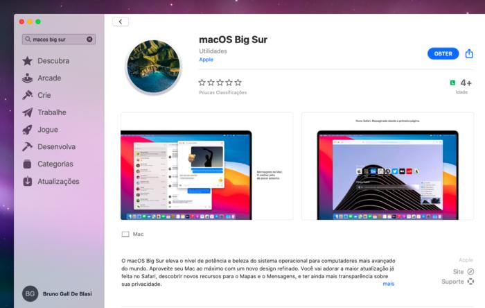 macOS Big Sur na Mac App Store (Imagem: Reprodução/Tecnoblog)