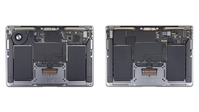 MacBook Air com processador Intel e com Apple M1 lado a lado (Imagem: Reprodução/iFixit)