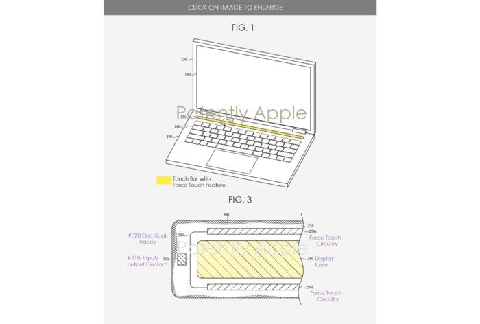 Patente do MacBook com barra de toque sensível à pressão (imagem: reprodução / patenteado pela Apple)