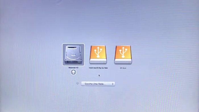 Tela de boot com unidades do macOS Big Sur (Imagem: Reprodução/Apple)