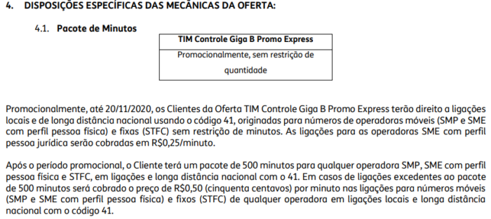 Mecânica de ligações ilimitadas no contrato do TIM Controle (Imagem: Reprodução/TIM)