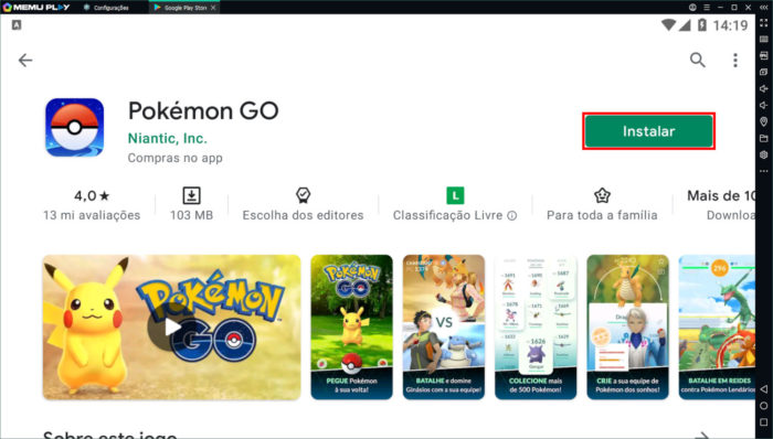 Página de Pokémon GO na Google Play Store, rodando no emulador (Imagem: Reprodução/Microvirt/Google/Niantic/The Pokémon Company)