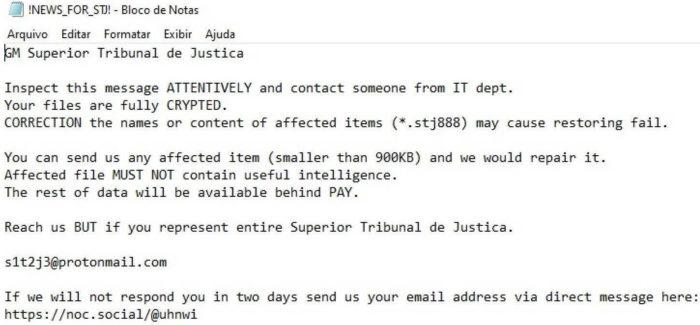 Mensagem dos hackers ao STJ (Imagem: Reprodução/O Bastidor)