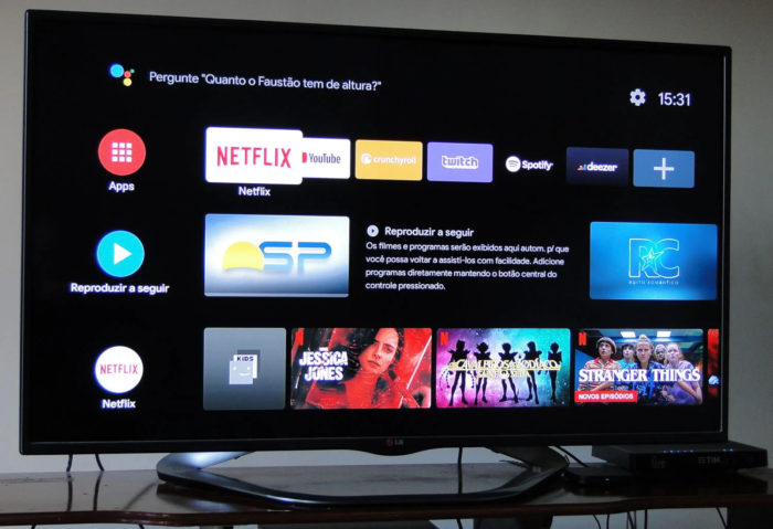 Android TV no Mi Box S (Imagem: Ronaldo Gogoni/Meio Bit)