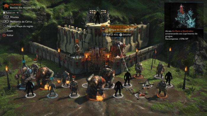 Organização de capitães de uma região em Middle-earth: Shadow of War (Imagem: Reprodução/Monolith Productions/Warner Bros. Interactive Entertainment)
