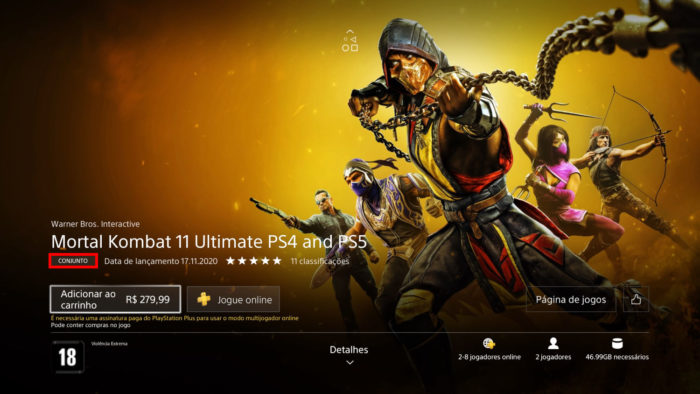 Página do conjunto Mortal Kombat 11 Ultimate no PS4 (Imagem: Reprodução/NetherRealm Studios/Warner Bros. Interactive Entertainment/Sony)