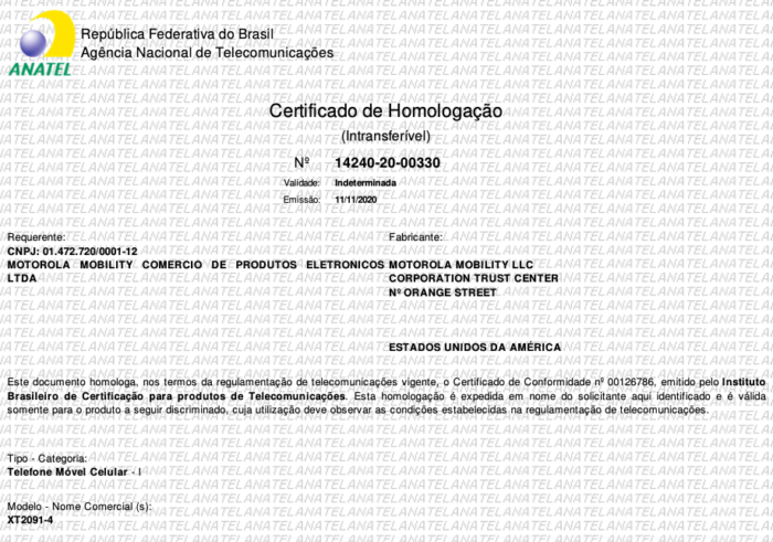 Certificado de homologação do Moto G9 Power (Imagem: Reprodução/Tecnoblog)