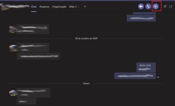 Opção de compartilhar conteúdo no Microsoft Teams (Imagem: Reprodução / Microsoft Teams)