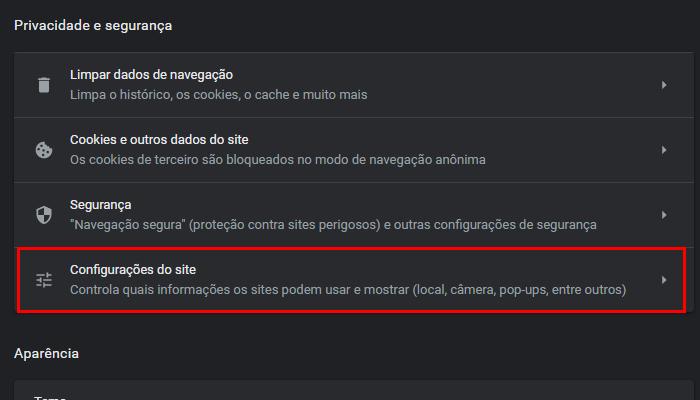 Como mudar microfone ou câmera no Chrome (Imagem: Reprodução/Google Chrome)