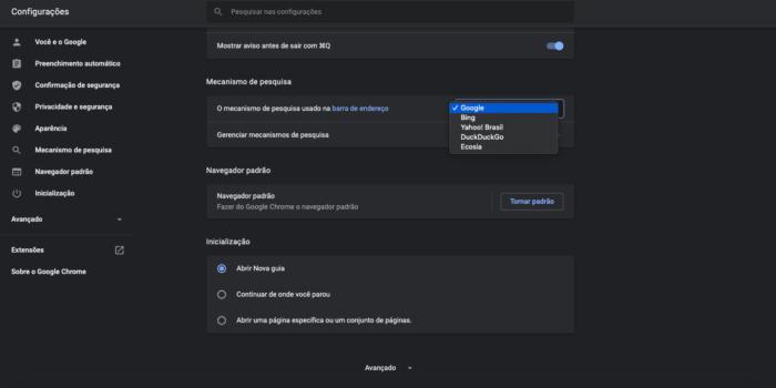 Mudar o motor de busca no Chrome (Imagem: Reprodução/Google Chrome)