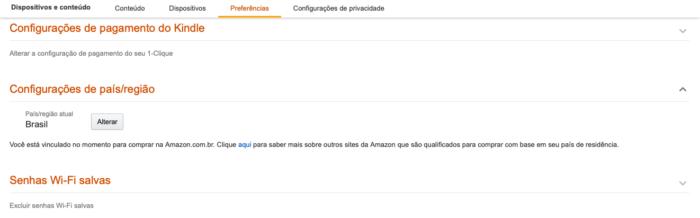 Mudar país da Amazon (Imagem: Reprodução/Amazon)