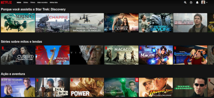 Exemplos de barras de navegação personalizadas (Imagem: Reprodução/Netflix)