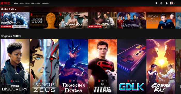 Página inicial da Netflix na web (Imagem: Reprodução/Netflix) / séries recomendadas da netflix