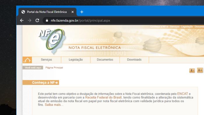 Site da Nota Fiscal Eletrônica (Imagem: Reprodução)
