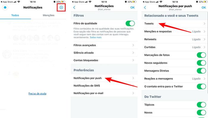 Configurando notificações por push no Twitter