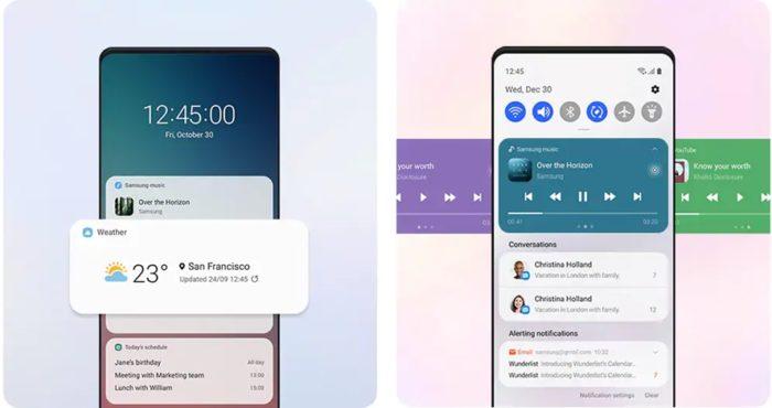 Widgets na One UI 3.0 (imagem: divulgação/Samsung)