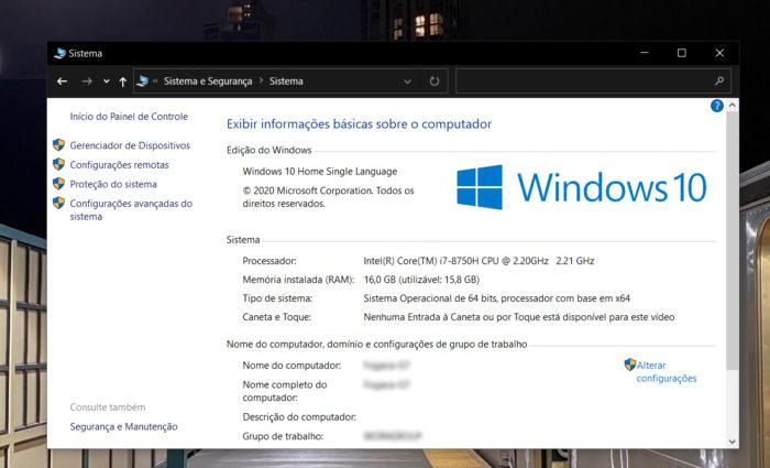 Página sobre o sistema no Painel de Controle, no Windows 10 (Imagem: reprodução/Windows 10)