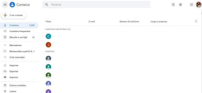 Importando contatos no Gmail pelo computador (Imagem: Reprodução / Gmail)