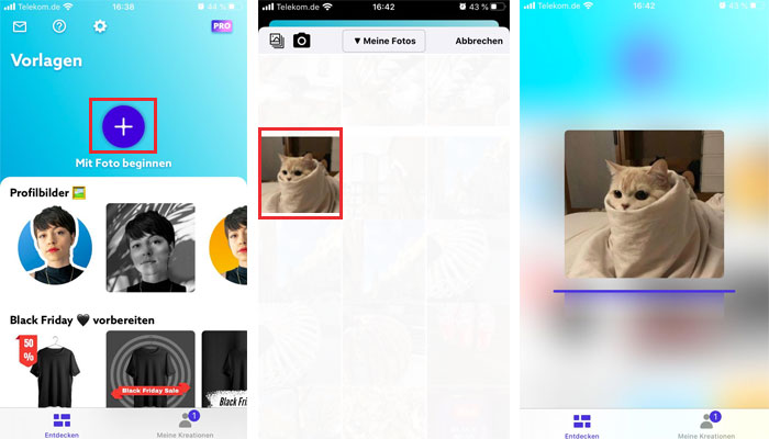 Importando foto no aplicativo PhotoRoom