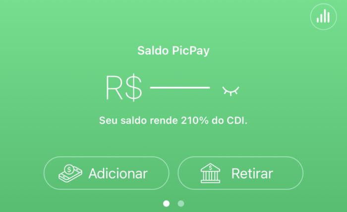 App mostra que dinheiro rende 210% do CDI (Imagem: Reprodução/PicPay)