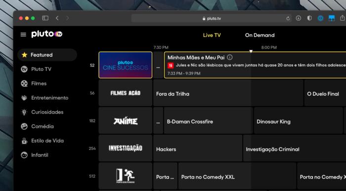 Guia de programação de canais (Imagem: Reprodução/Pluto TV)