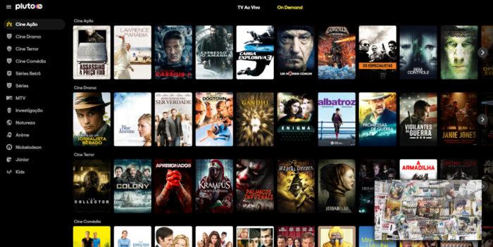 """Aba """"On demand"""" do Pluto TV (Imagem: Reprodução/Pluto TV)"""