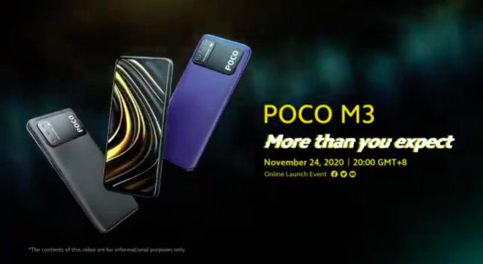 Xiaomi Poco M3 (Imagem: Reprodução/Poco/Twitter)