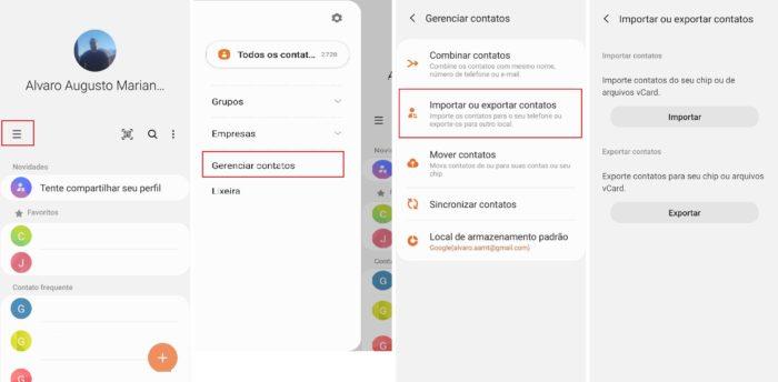 Importando e exportando contatos do Chip para seu telefone (Imagem: Reprodução / Android)