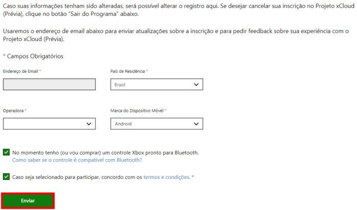 Tela de preenchimento de dados para inscrição no xCloud (Imagem: Reprodução/Microsoft)