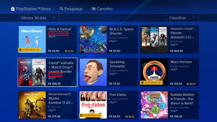 Página da PS Store no PS4, com jogos completos e conjuntos (Imagem: Reprodução/Sony)