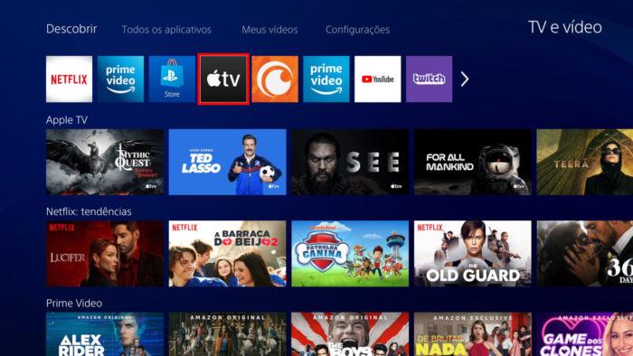 """Interface do app """"TV e vídeo"""" do PS4 (Imagem: Reprodução/Sony)"""