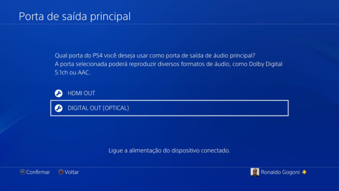 Configurações de saída de áudio do PS4 (Imagem: Reprodução/Sony)