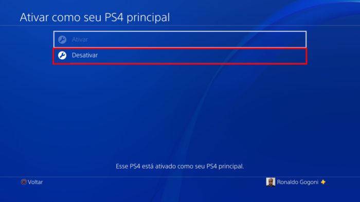 Tela de ativação do PS4 (Imagem: Reprodução/Sony) / Como desativar conta PSN de outro PS4