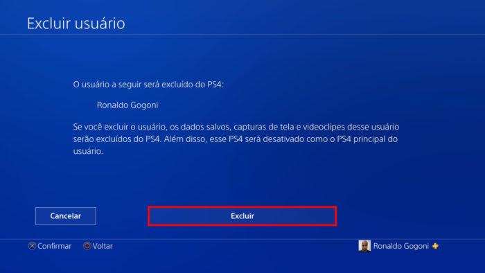 Tela de exclusão de usuário do PS4 (Imagem: Reprodução/Sony) / Como excluir uma conta do PS4