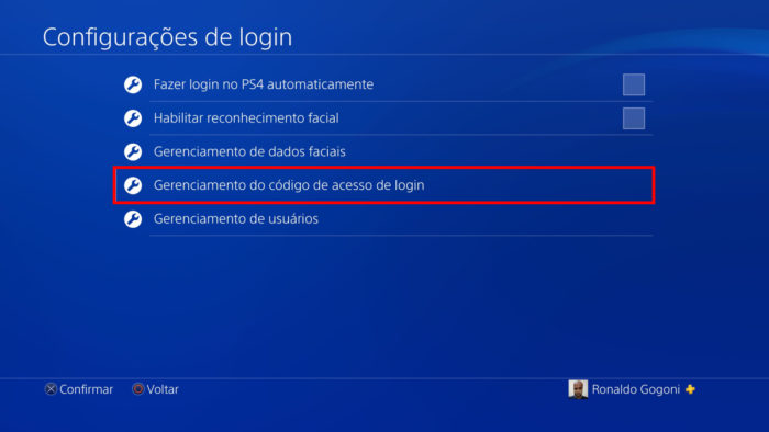 Tela de configurações de login do PS4 (Imagem: Reprodução/Sony)