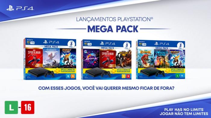 Mega Packs do PS4 acompanham controle, jogos e PS Plus (Imagem: Sony/Divulgação)