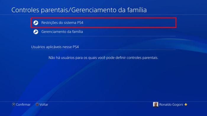 Tela de controles parentais do PS4 (Imagem: Reprodução/Sony) / como colocar uma senha no PS4