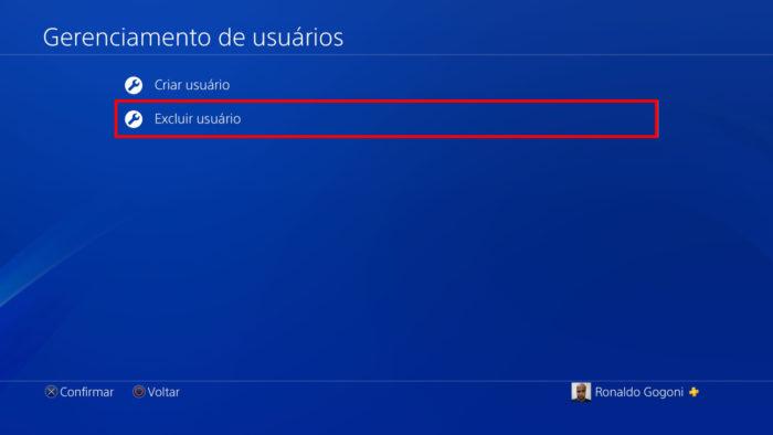 Tela de gerenciamento de usuários do PS4 (Imagem: Reprodução/Sony) / Como excluir uma conta do PS4