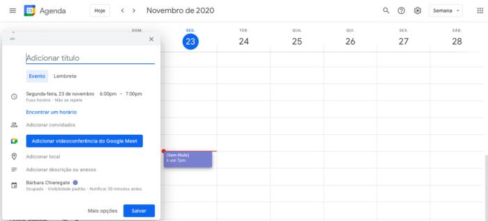 Agendar reunião no Google Meet (Imagem: Reprodução/Google Meet)