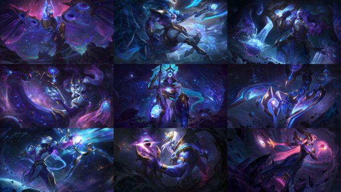 Skins de Anivia, Hecarim, Illaoi, Nami, Nidalee, Skarner, Varus, Vladmir e Lissandra na ordem (Imagem: Divulgação/League of Legends)