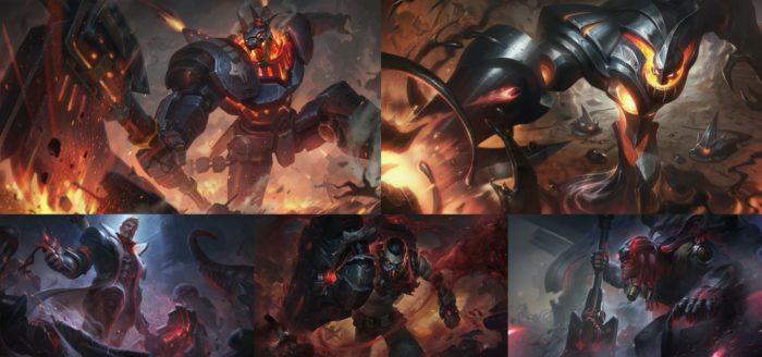 Skins do Nasus, Zac, Jayce, Singed e Yorick (Imagem: Divulgação/League of Legends)