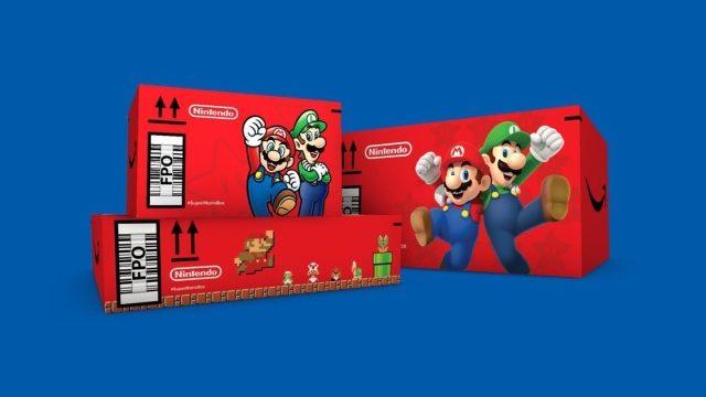 Caixa do Super Mario Bros., entregue pela Amazon em parceria com a Nintendo