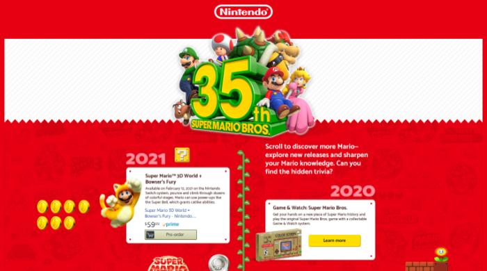 Página da Amazon com o tema Super Mario Bros.
