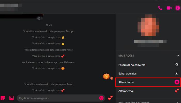 Como mudar o tema do Messenger no PC (Imagem: Reprodução/Messenger)