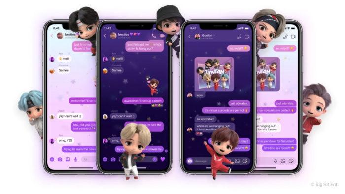 Apps liberam tema de BTS para conversas (Imagem: Divulgação / Messenger)